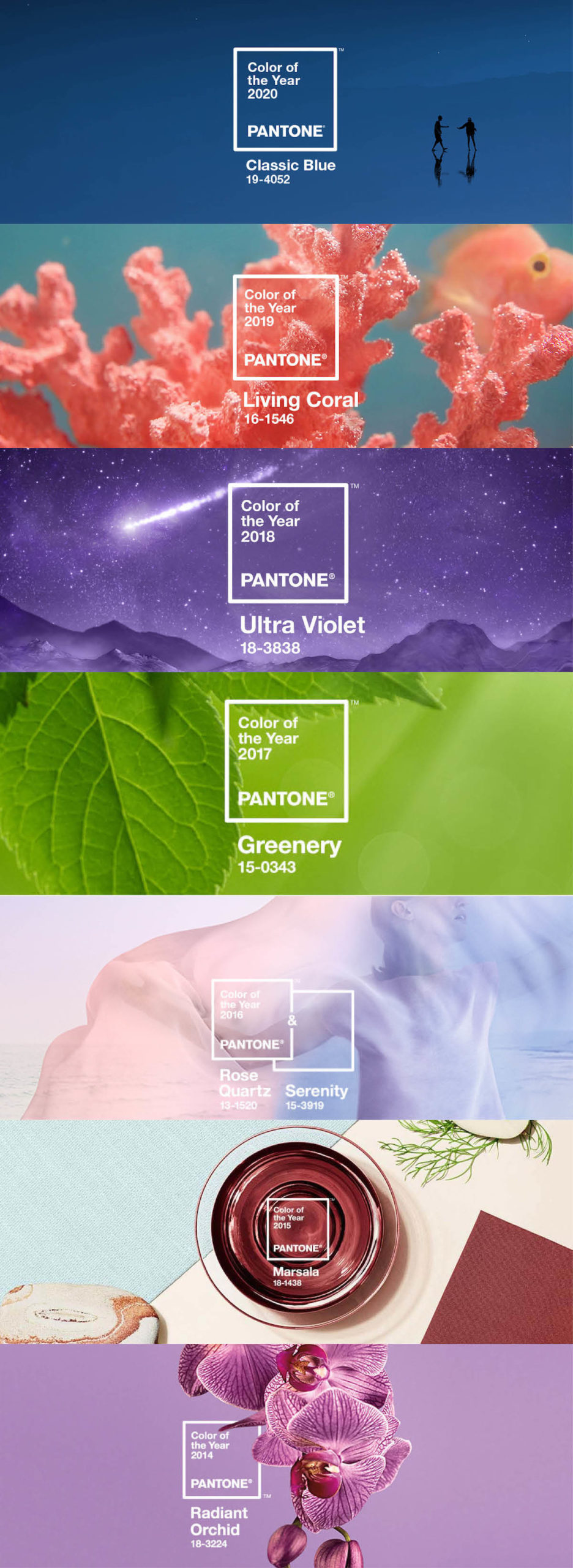 Pantone Color of the Year 2014 - 2020